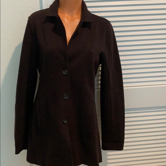 Eileen Fisher brown wool button front coat